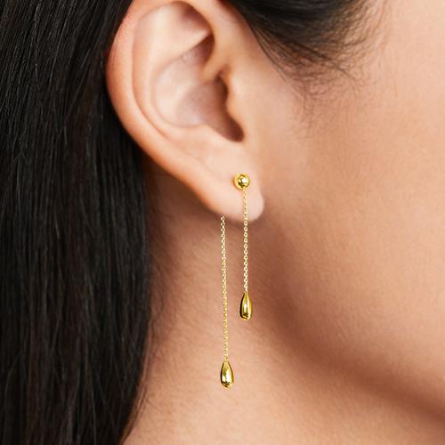 14K Yellow Gold Front To Back Teardrop Earrings