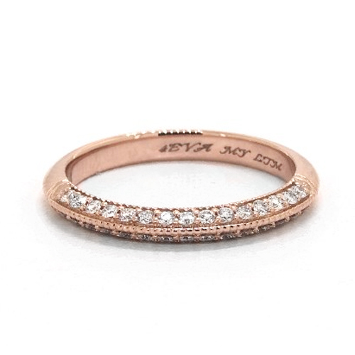 14K Rose Gold Pavé Knife Edge Cathedral Diamond Wedding Ring