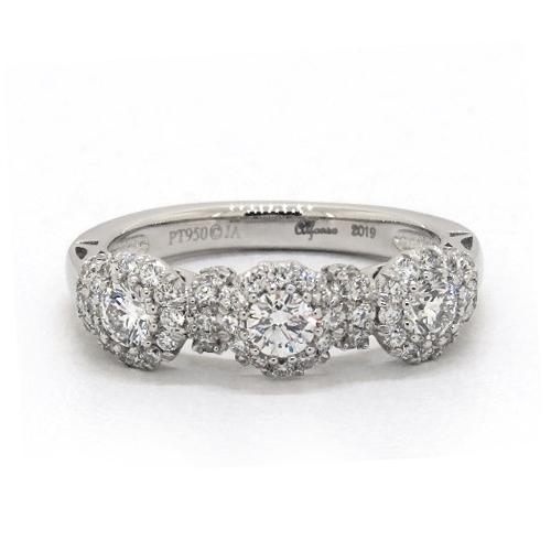 Platinum Three Stone Sunburst Wedding Ring
