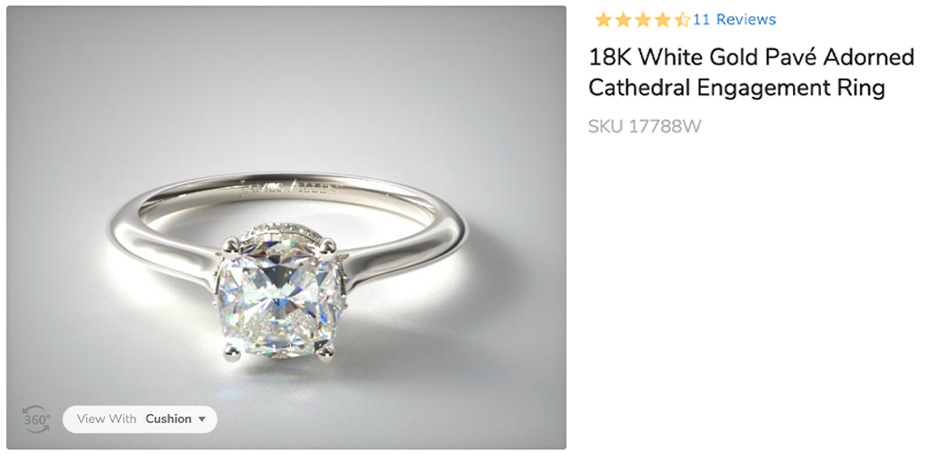 18K White Gold Pavé Adorned Cathedral Engagement Ring