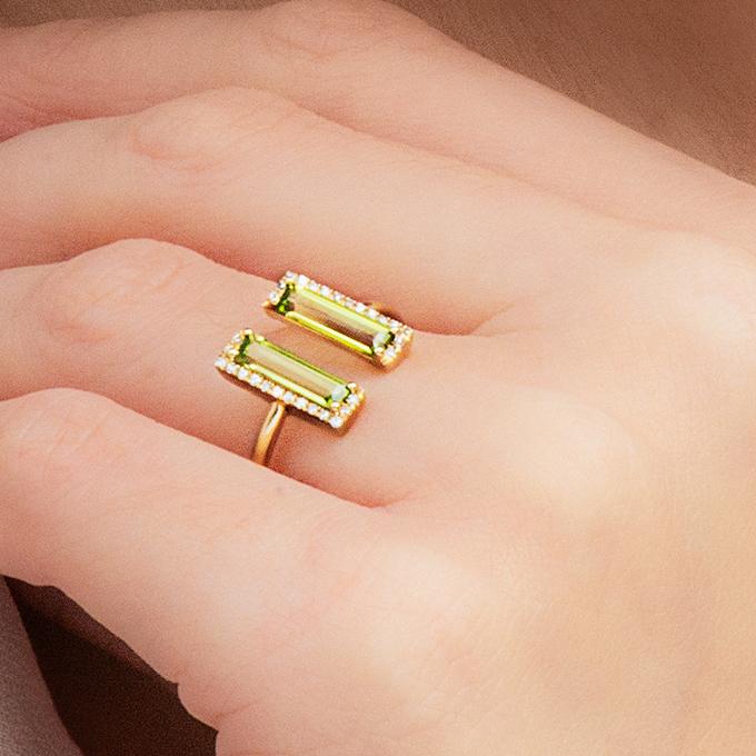 14K Yellow Gold Peridot And Open Diamond Halo Ring