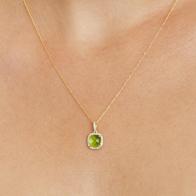 14k Yellow Gold Cushion Halo Peridot And Diamond Necklace