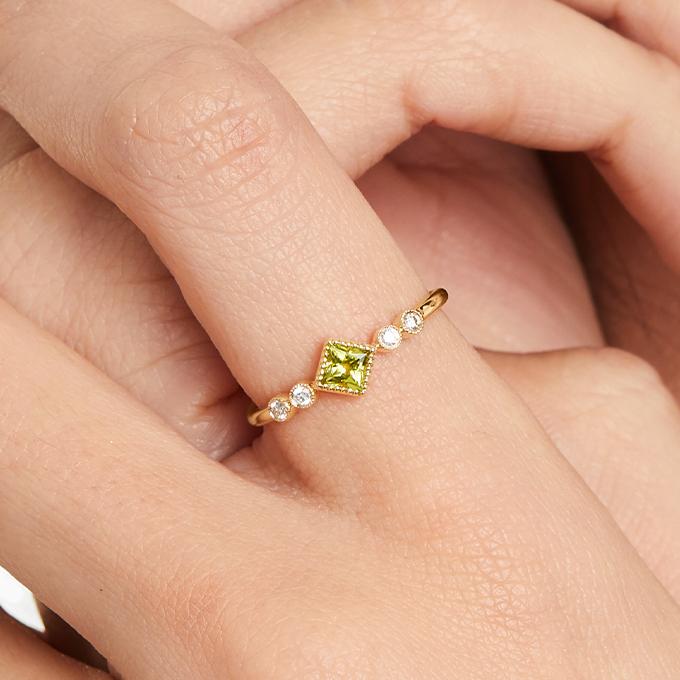 14K Yellow Gold Dainty Peridot Bezel Diamond Ring By Brevani