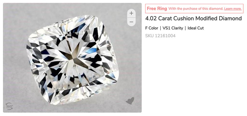 earth created cushion cut diamond