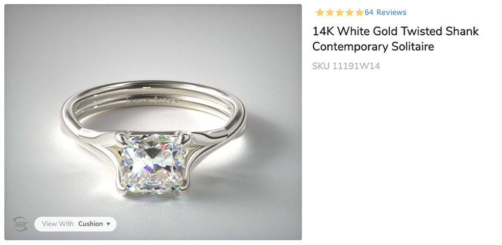 Double shank solitaire cushion cut ring