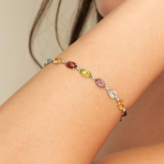 14K Yellow Gold Multi Gemstone Line Bracelet