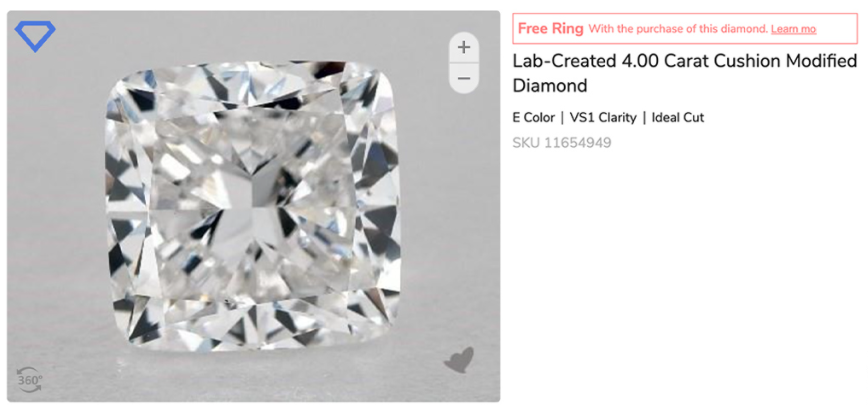 4 carat lab created diamond with E color and VS1 clarity