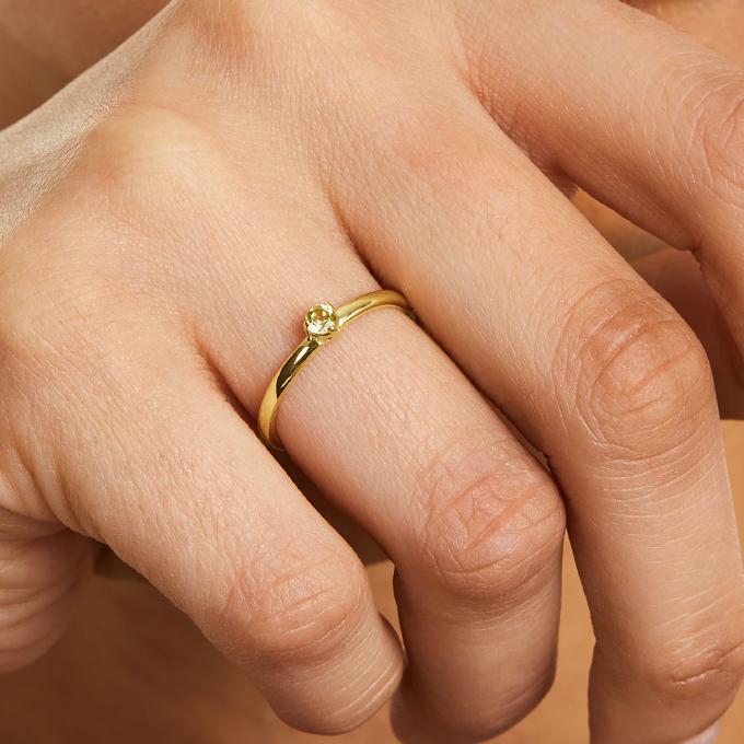 14K Yellow Gold 1.8mm Petite Single Peridot Birthstone Ring
