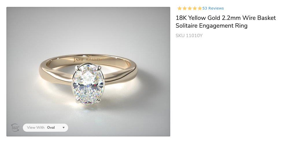 18K Yellow Gold 2.2mm Wire Basket Solitaire Engagement Ring