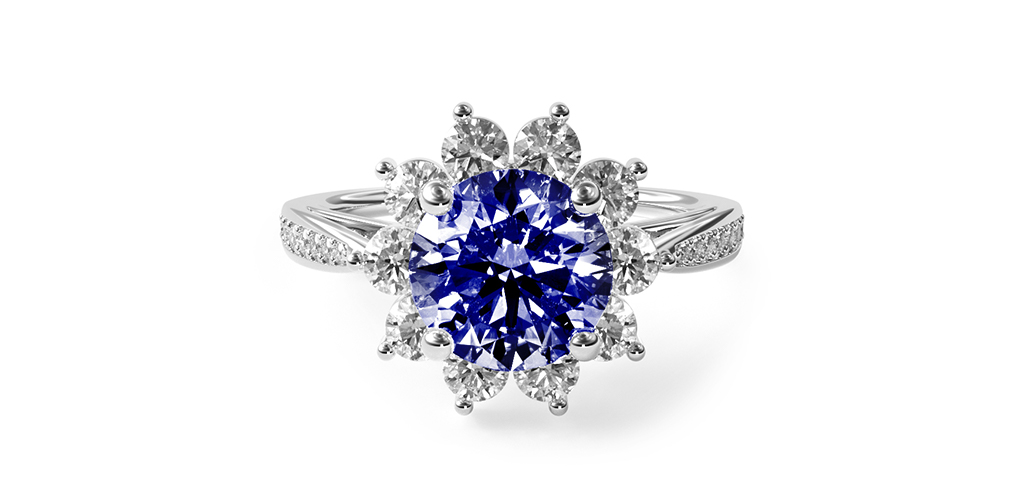 2.16 Carat Round Natural Blue Sapphire Cathedral Star Engagement Ring