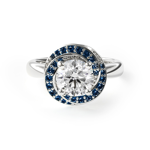 14K White Gold Enchanted Swirl Engagement Ring