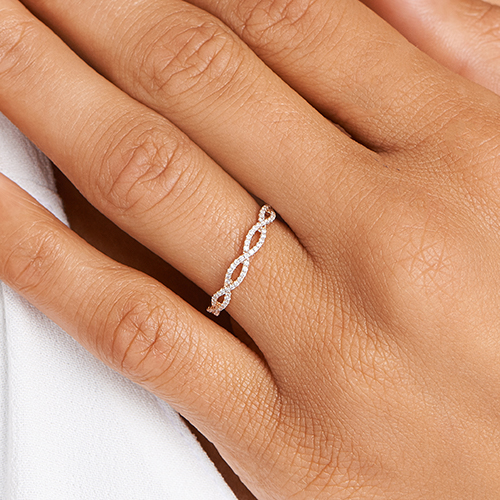 14K Rose Gold Petite Open Infinity Diamond Ring