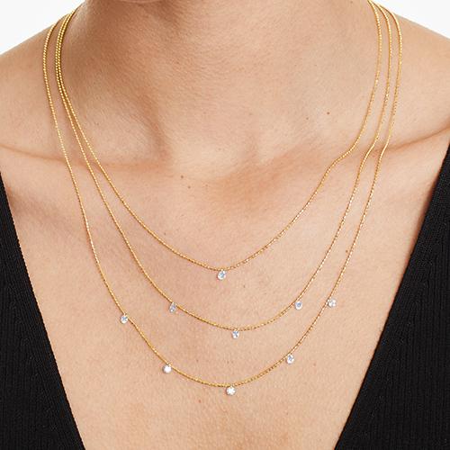 14K Yellow Gold Triple Layer Pierced Diamond Specks Necklace By Brevani
