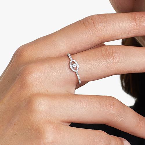 14K Yellow Gold Evil Eye Diamond Ring