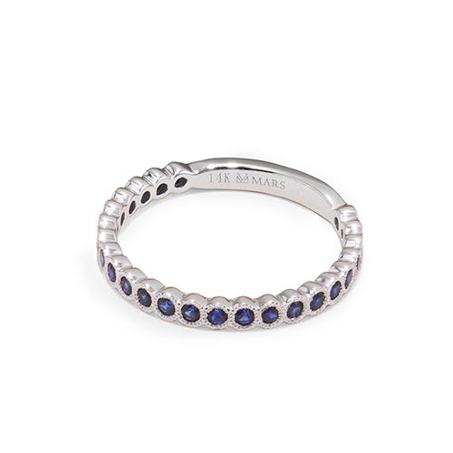 14K White Gold Milgrain Bezel Sapphire Ring