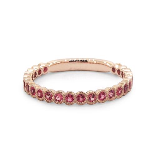 14K Rose Gold Milgrain Bezel Pink Sapphire Ring