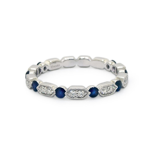 14K White Gold Alternating Arrow Shape Milgrain Bezel Sapphire And Diamond Ring