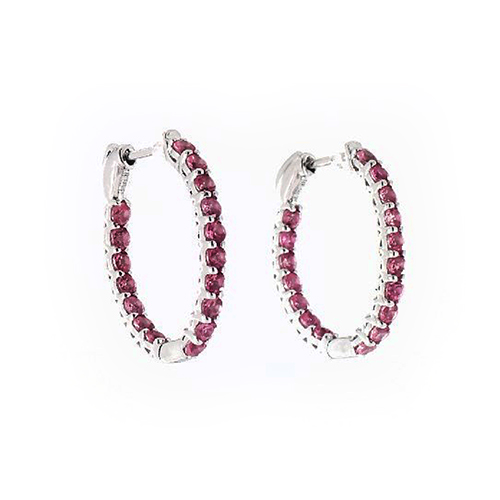 14K White Gold Pink Sapphire Trellis Inside Out Oval Hoops, 0.8 Inch (1.9 Mm)