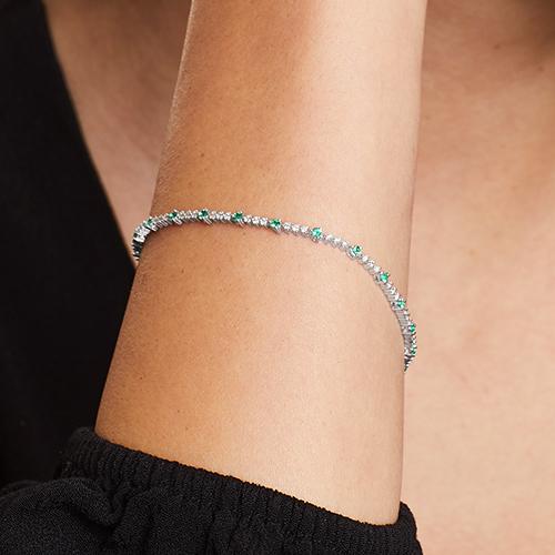 14K White Gold Perpetual Diamond And Emerald Tennis Bracelet