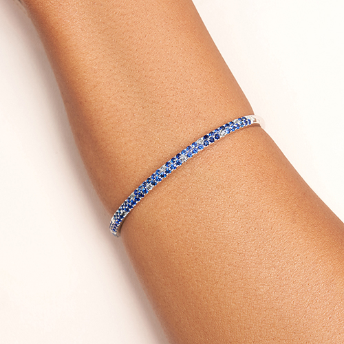 14K White Gold Double Row Sapphire And Diamond Bangle Bracelet