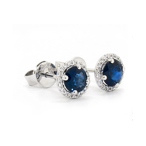 18K White Gold Round Halo Sapphire And Diamond Earrings