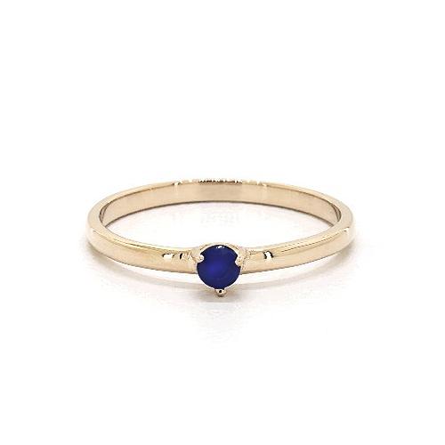 14K Yellow Gold 1.8mm Petite Single Sapphire Birthstone Ring