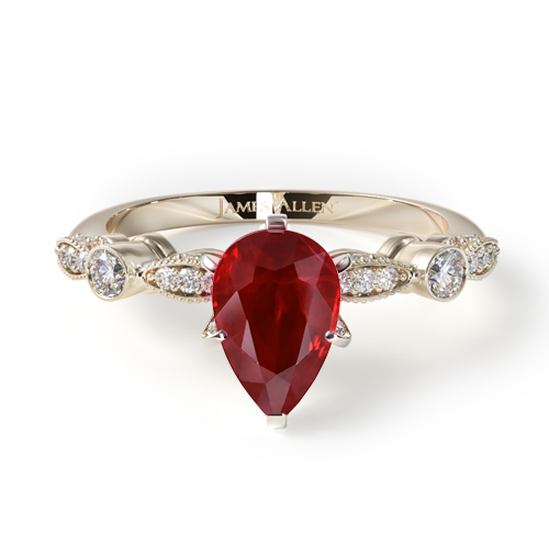 Natural Ruby Antique Bezel And Pavé Set Engagement Ring