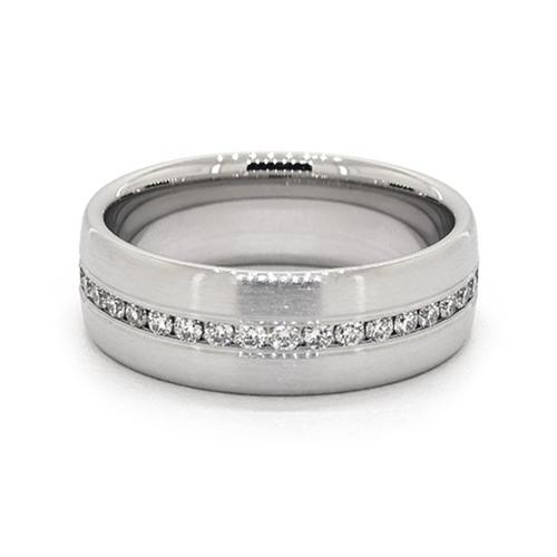 14K White Gold 7.5 Mm Satin Finish Channel Set Diamond Ring