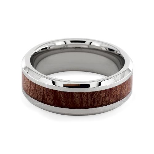 Cobalt Chrome™ 8MM Wood Grain Comfort Fit Ring