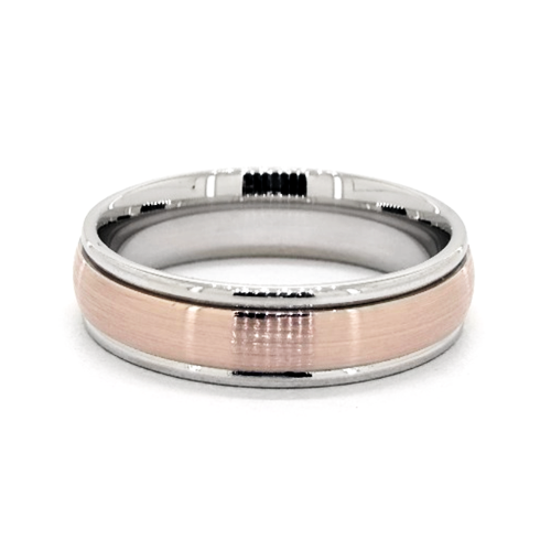 14K Two-Toned 6mm Comfort-Fit Satin Center Band