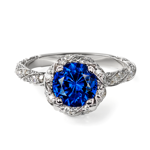 Natural Blue Sapphire Twisted Pavé Halo Engagement Ring