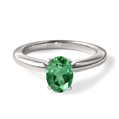 Natural Green Emerald 2mm Comfort Fit Solitaire Engagement Ring