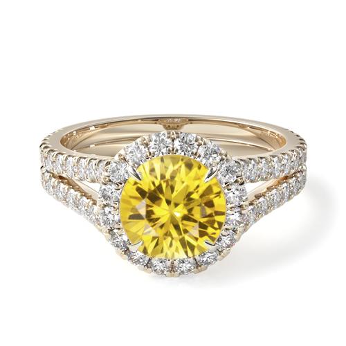 Natural Yellow Sapphire Round Split Band Diamond Halo Engagement Ring