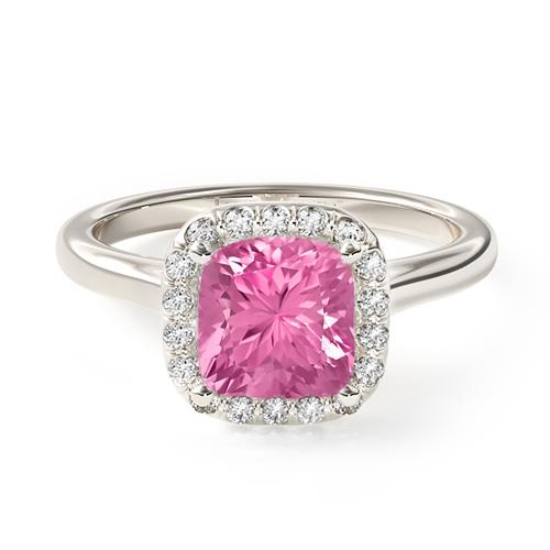 Natural Pink Sapphire Pavé Halo Diamond Engagement Ring (Cushion , Radiant, Emerald )