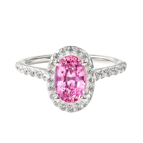 Natural Pink Sapphire Pavé Halo Diamond Engagement Ring (Oval Center)