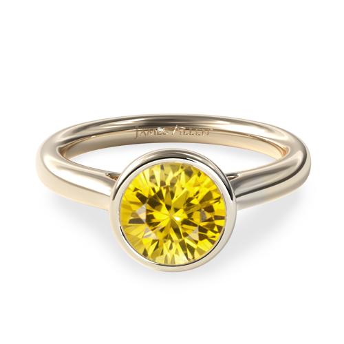 Natural Yellow Sapphire Bezel Set Diamond Engagement Ring
