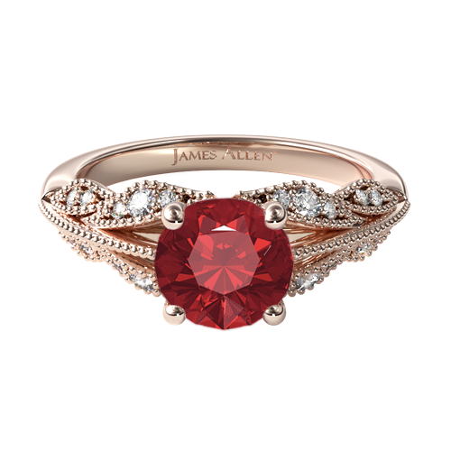 Natural Ruby Vintage Inspired Floral Bouquet Engagement Ring