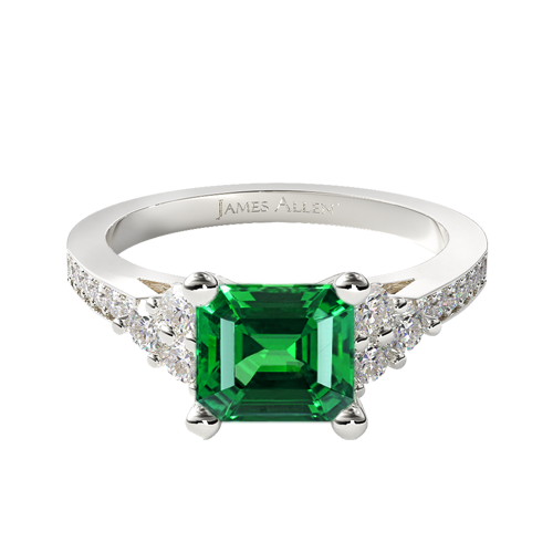 Natural Green Emerald Pavé Trio Engagement Ring