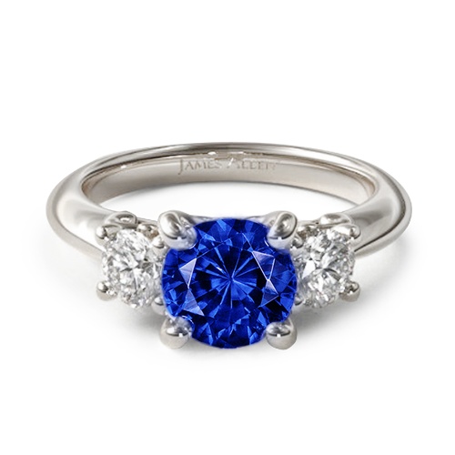 Round Natural Blue Sapphire Three Stone Diamond Engagement Ring With Scroll Undergallery
