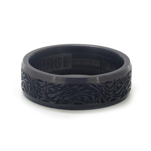 Darkened Tantalum Faux Mokume Pattern 7mm Comfort Fit Ring