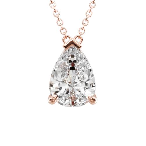 14K Rose Gold Point Up Pear Shape Diamond Solitaire Pendant